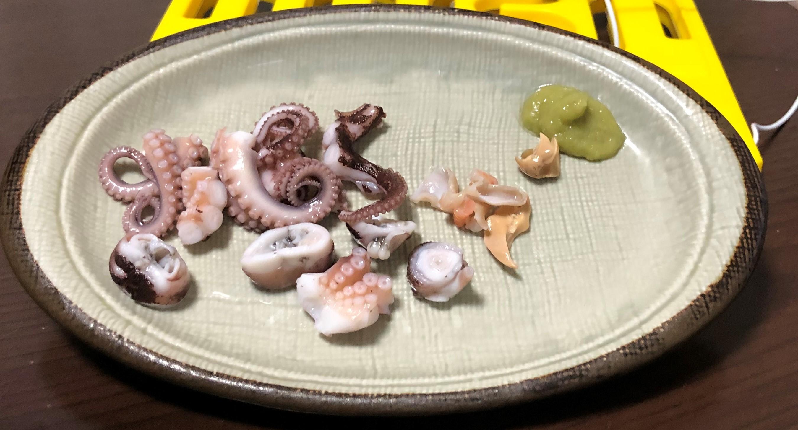 イイダコ刺身・カサゴ胃袋・メバル、カサゴ肝