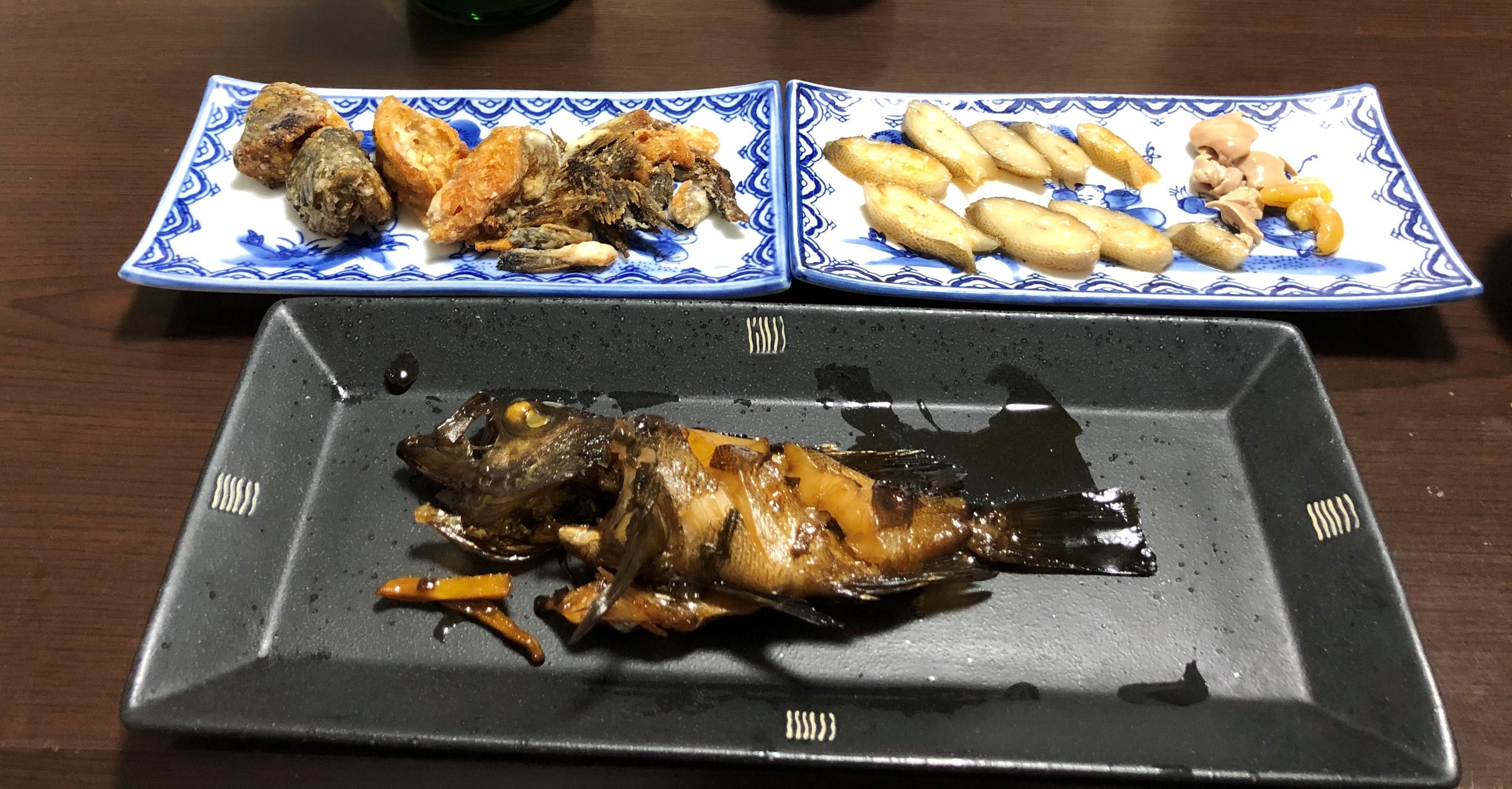 料理後 背越し・唐揚げ・煮つけ  内臓以外捨てる箇所なし。味もよしでした。