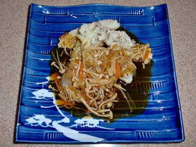 カサゴの天ぷら 甘酢がけ