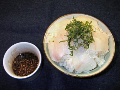 ヒラメ丼 ( 肝醤油で )