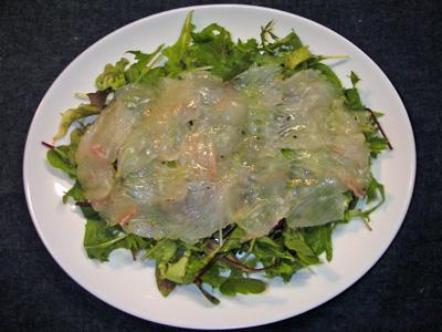ヒラメのカルパッチョ風サラダ