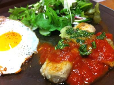 シイラ焼きのトマト&バジルソース