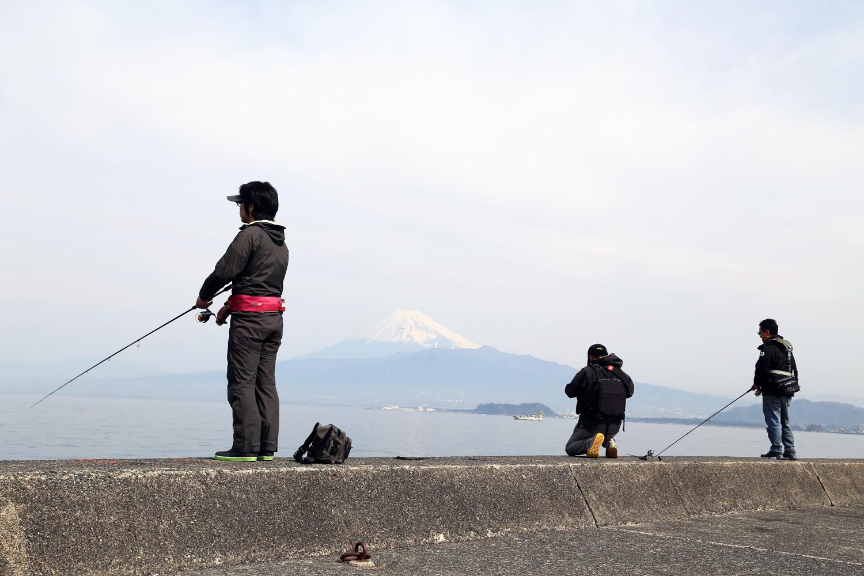 木負堤防 富士山を望む