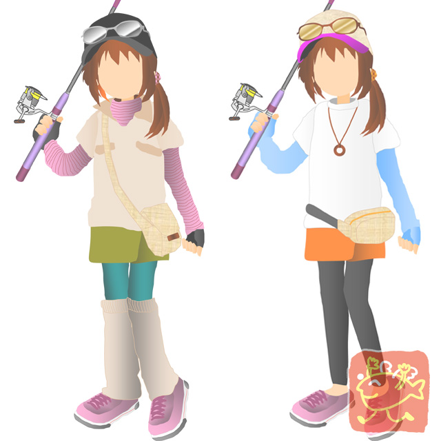 女性の釣りスタイル