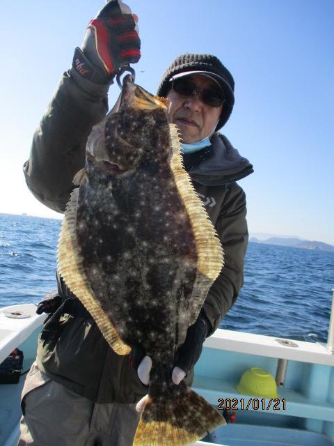 いつもの常連様は肉厚ごーはんOver寒ビラメを釣り上げましたよッ( ͡° ͜ʖ ͡°)v